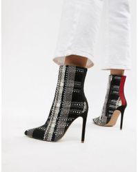 fd6bea6da ASOS Steve Madden Sloann Peeptoe Leather Platform Ankle Boots in ...