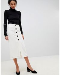 ASOS - Design Midaxi Skirt With Contrast Buttons - Lyst