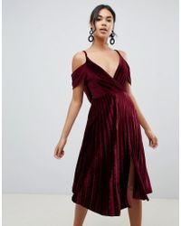 ASOS - Pleated Velvet Cami Midi Dress With Cowl Back Detail - Lyst