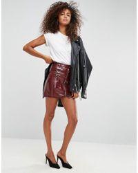 ASOS   Premium Vinyl Mini Skirt With Zip And D Ring Detail   Lyst