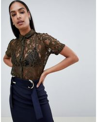 Vesper - Lace Short Sleeve Shirt - Lyst