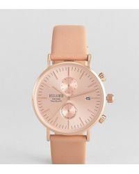 Reclaimed (vintage) - Inspired Chronograph Leather Watch In Tan 36mm Exclusive To Asos - Lyst