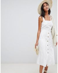 Warehouse - Midi Dress With Button Front In White - Lyst