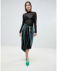 River Island - Premium Embellished Wrap Pencil Skirt - Lyst