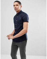 ASOS - Slim Short Sleeve Shirt In Navy - Lyst