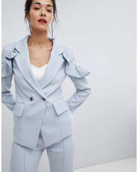 Elliatt - Frill Tailored Jacket - Lyst