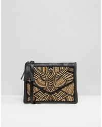 Park Lane - Real Leather Clutch Bag With All Over Embellishment - Lyst