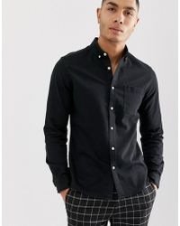 ASOS Stretch Slim Denim Shirt In Black With Grandad Collar