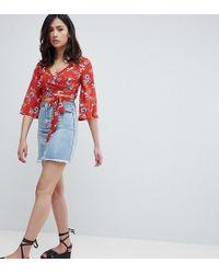 Missguided - Raw Hem Denim Mini Skirt - Lyst