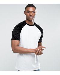 ASOS   Tall Oversized Raglan T-shirt With Embossed Floral Velvet Sleeves   Lyst