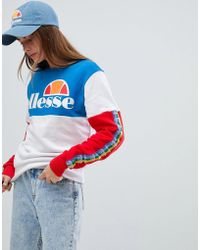 Ellesse - Oversized Sweatshirt With Rainbow Logo Taping In Color Block - Lyst