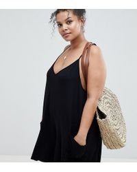 ASOS - Asos Design Curve Jersey Minimal Playsuit With Pockets - Lyst