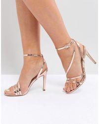 d9e7bd384053 Lyst - Steve Madden Asos Handwritten Heeled Sandals in Metallic