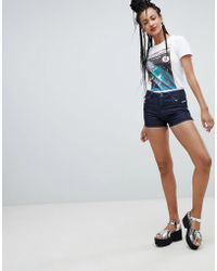 Love Moschino - Embroidered Denim Shorts - Lyst