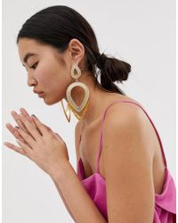 ASOS - Earrings In Statement Textured Open Shape Design With Resin In Gold - Lyst