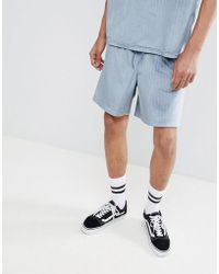 ASOS DESIGN - Co-ord Slim Shorts In Velour Pinstripe With Elasticated Waistband - Lyst