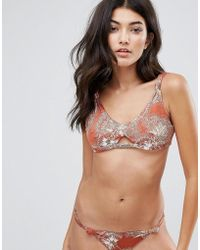 Somedays Lovin - Knot Cut Out Printed Bikini Top - Lyst