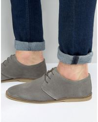 ASOS - Derby Shoes In Grey Suede With Piped Edging - Lyst