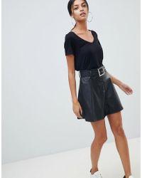 ASOS - Asos Leather Look Mini Skater Skirt With Belt Detail - Lyst