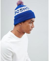 DC Shoes - Bobble Hat With Logo In Blue - Lyst