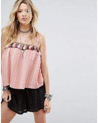 Honey Punch | Cami Top In Woven Stripe With Tassel Trim | Lyst