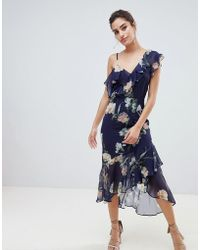 Hope and Ivy - Hope & Ivy Floral Layered Shoulder Dress With Ruffle Asymetric Hem - Lyst
