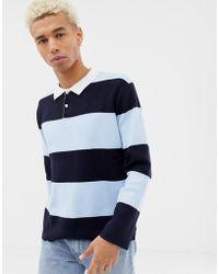 Pull&Bear - Rugby Shirt In Blue Stripe - Lyst