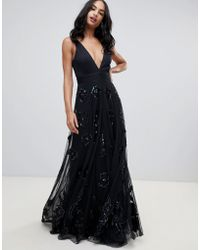 A Star Is Born - Prom Maxi Dress With Plunge Front In Black - Lyst