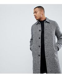 ASOS - Tall Wool Mix Overcoat In Black Texture - Lyst