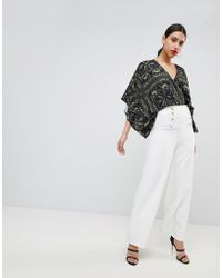 Flounce London - Wide Leg Tailored Trousers With Gold Button Detail - Lyst