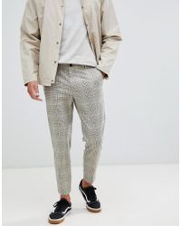 Bershka - Tailored Check Trousers In Beige - Lyst