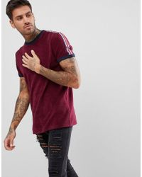 ASOS | T-shirt In Towelling With Taping Shoulders In Oxblood | Lyst