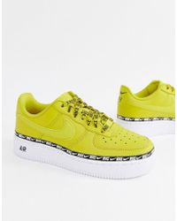 Nike - Yellow Air Force 1 Swoosh Tape Trainers - Lyst bd55cfad3