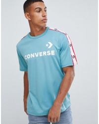 Converse - Taping T-shirt With Back Print In Blue 10007090-a03 - Lyst