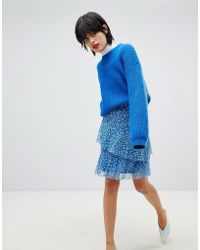 Pieces - Floral Print Frill Skirt - Lyst