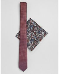 ASOS - Slim Textured Wedding Tie In Rust With Floral Pocket Square - Lyst