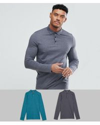 ASOS DESIGN - Long Sleeve Polo In Jersey 2 Pack Save - Lyst