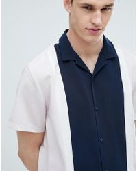 ASOS - Regular Fit Cut And Sew Shirt With Revere Collar - Lyst