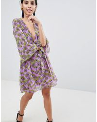 Liquorish - Floral Print Dress With V Front And Kimono Sleeve - Lyst