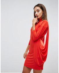 b6ecbc423155 Lyst - ASOS Asos Metallic Twist Front Maxi Dress With Shoulder Pads ...