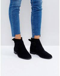 Hudson Jeans - Aretha Black Suede Tie Back Flat Ankle Boots - Lyst