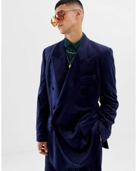 ASOS - Slouchy Double Breasted Suit Jacket In Navy Velvet - Lyst