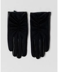 ASOS Wool And Leather Mix Glove - Black