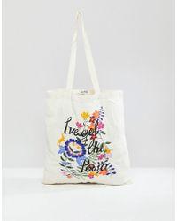 Monki - Floral Print Tote Bag - Lyst