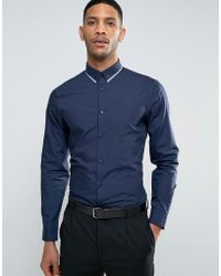 New Look | Regular Fit Smart Shirt With Collar Trim In Navy | Lyst