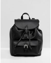 eb1b35333c Pull Bear - Buckle Detail Backpack In Black - Lyst