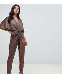 a7f4e9bdab4 John Zack - Knot Front Jumpsuit In Copper - Lyst