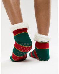 1e196ab37d71ab ASOS DESIGN - Christmas Slipper Socks In Glitter Stripes With Fluffy Lining  - Lyst