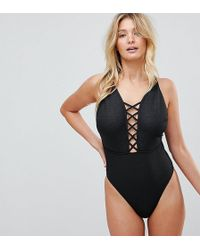 Wolf & Whistle - Croc Printed Lattice Plunge Swimsuit Dd - G Cup - Lyst