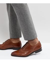 Dune - Wide Fit Toe Cap Derby Shoes In Tan Leather - Lyst